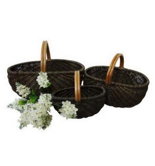 Set 3 Rattan Baskets With Handles