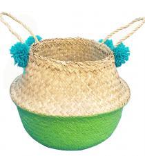 Seagrass Basket BB4-0057-16Green-w/Pompoms